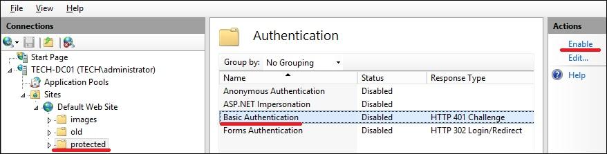 IIS - Enable basic authentication