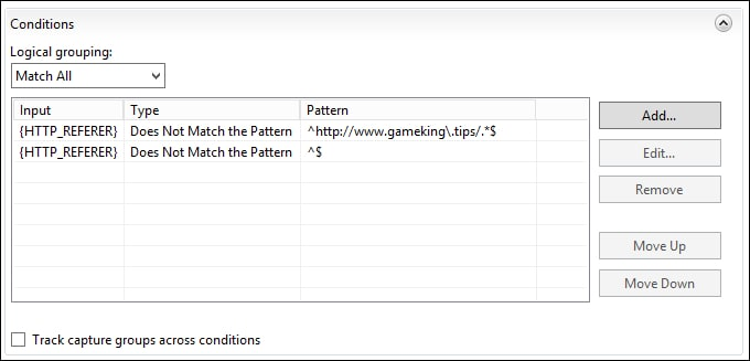 IIS Hotlinking - Condition summary