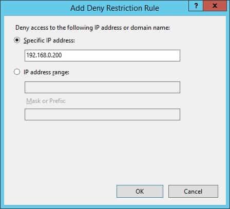 IIS IP address - Deny access