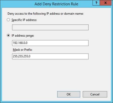 IIS IP address network - Deny access