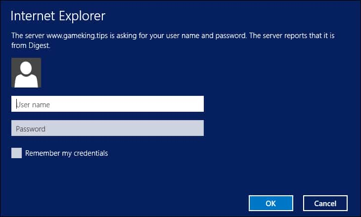 IIS - Internet explorer Digest authentication
