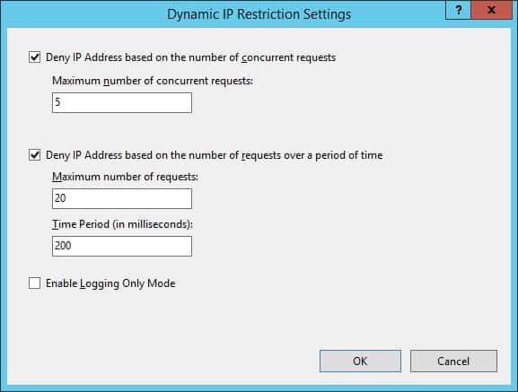 IIS - Limit concurrent connections