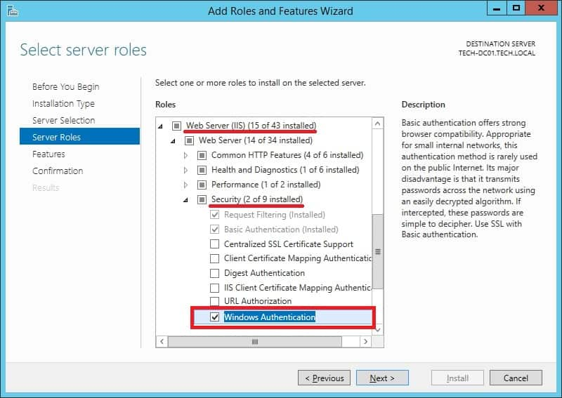 IIS - NTLM authentication feature
