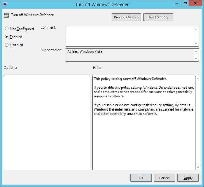GPO - Turnoff Windows Defender