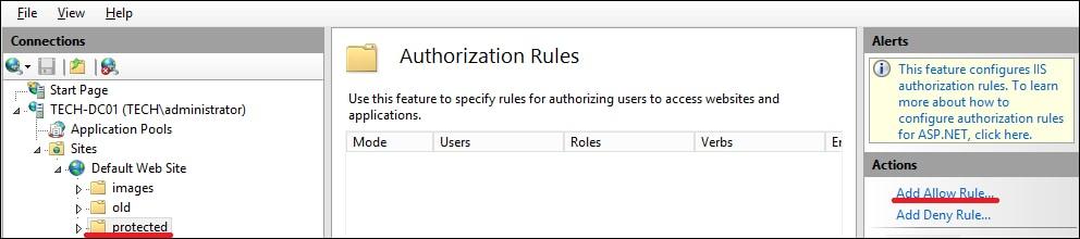 IIS - Add authorizarion rule