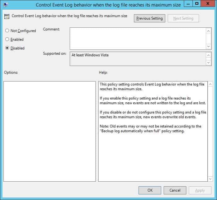 GPO - Control event log behavior
