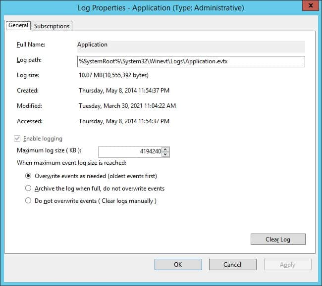 GPO - Event viewer log size