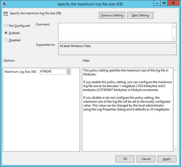 GPO - Specify the maximum log file size