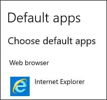 Default browser - Internet Explorer