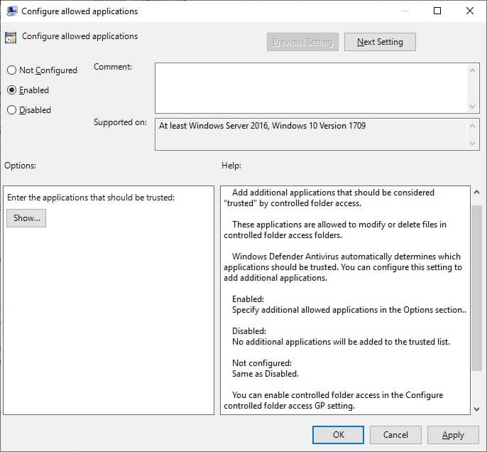 GPO Defender - Configure allowed applications