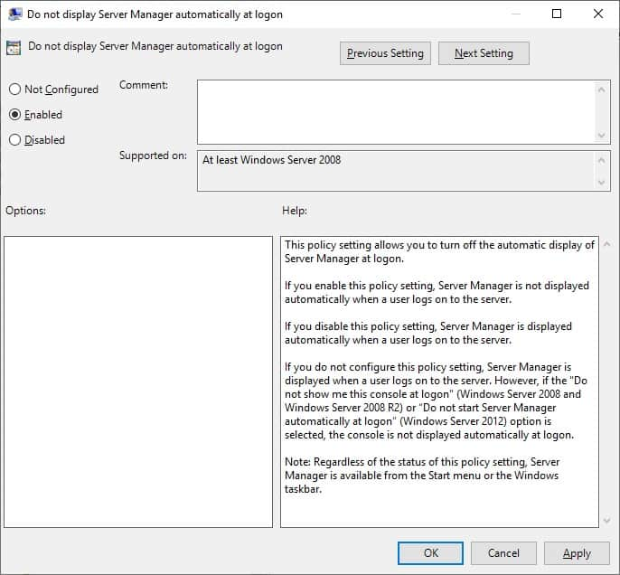 GPO - Disable server manager at logon