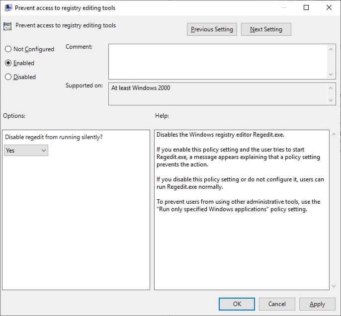 GPO - Prevent access to registry editor