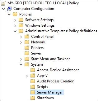 GPO - Server manager configuration