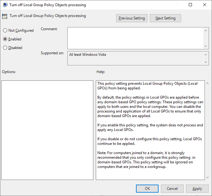 GPO - Turnoff local group policy processing