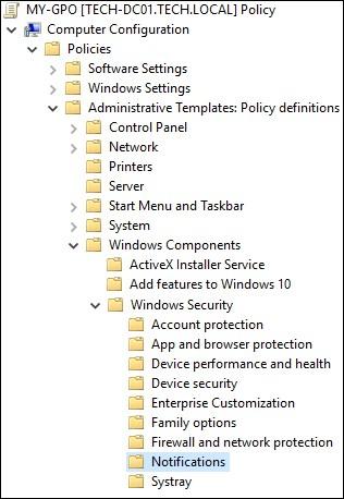 GPO - Windows security notifications