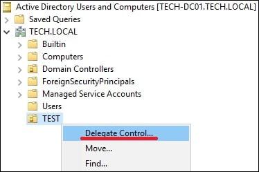 Active Directory - Delegate Control
