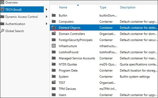Active Directory - Deleted Objects