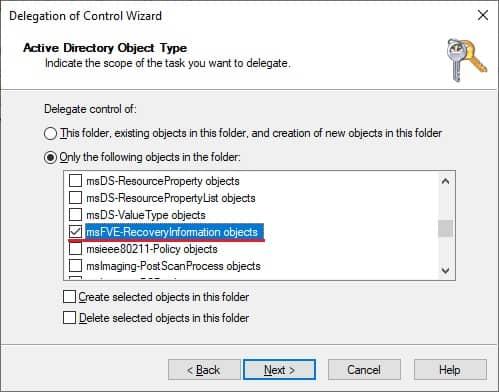 Bitlocker - Delegate access to recovery keys - MSFVE-RECOVERYINFORMATION