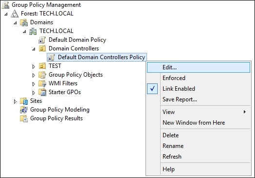 Default domain controllers policy