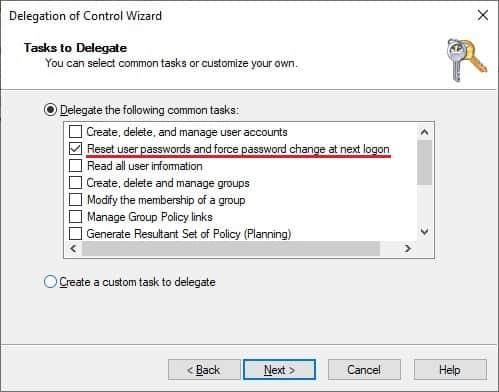 Delegate permission - Reset password