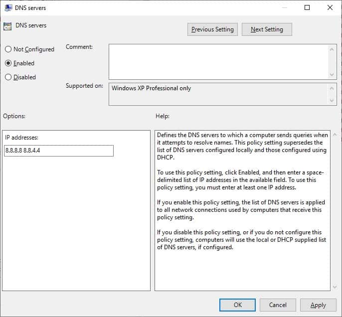 GPO - DNS Client configuration