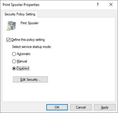 GPO - Disable Print Spooler