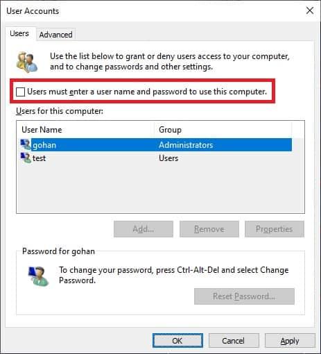 Windows 10 - Automatic logon