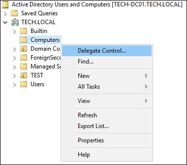 Windows - Delegate control to computers