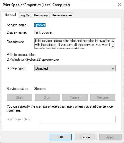 Windows - Print spooler disabled